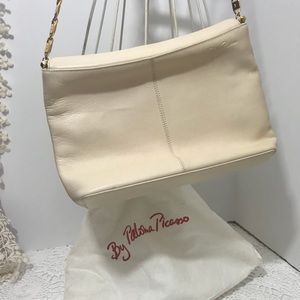 Paloma Picasso Ivory Leather & Gold Chain Purse